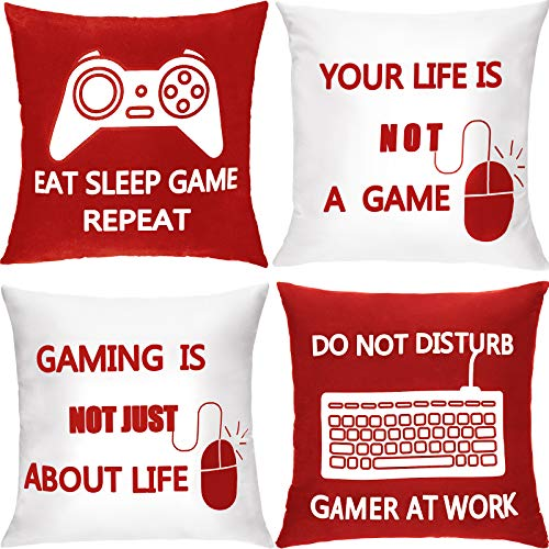 4 Pieces Gaming Cushion Cover Gamer Pillowcase Video Game Cushion Covers for Gaming Fan Video Game Themed Party Sofa Bedroom Funny Novelty Gift Home Decor (Red and White,18 x 18 Inch)