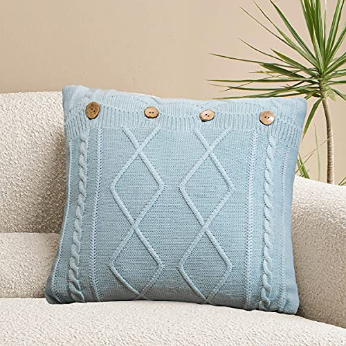 MYLUNE HOME Cushion Covers 18x18 Inch Sofa Garden Knitted Throw Pillow Covers Square Warm & Cozy Decorative Pillow Case With Button 45x45 cm (Light Blue)