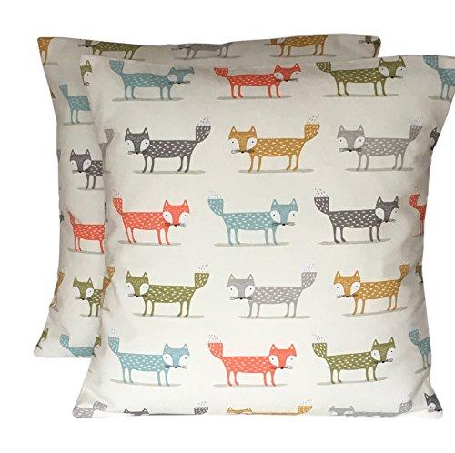 CUSHIONS2U 2 x 16 (40cm x 40cm) Scandi Fox Foxes Orange Grey Lime Green Blue Cream Cushion Covers