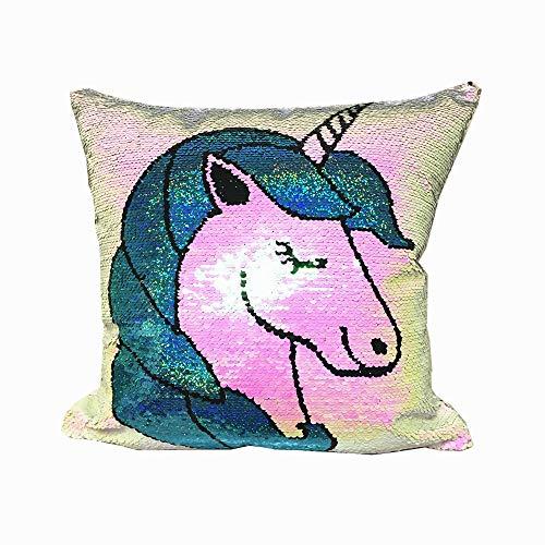 "Magic Double Colors Reversible Sequin Mermaid Lumbar Pillow Case Glitter Sofa Throw Cushion Cover(15.7 * 15.7"" 40 * 40cm) (Unicorn)"