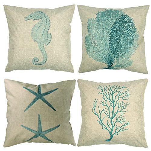 Luxbon 4 Pcs Nautical Themed Seaside Cushion Covers 18x18 Light Green Seahorse Coral Starfish Seaweed Beach Sofa Throw Shabby Chic Pillowcase 45x45cm Cotton Linen Cushion Case Covers Home Decors