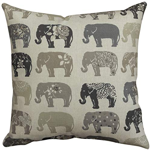 Vintage Style Floral Elephant Cushion Cover in Grey and Linen. Double Sided, 17' (43cm) Square Pillowcase, Zipped pillow. 100% Cotton.