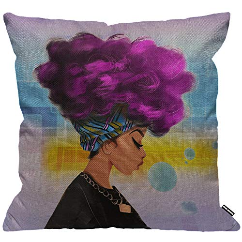 HGOD DESIGNS Cushion Cover Afro African Women With Purple Hairstyle Blow Bubbles Throw Pillow Cover Home Decorative for Men/Women/Boys/Girls living room Bedroom Sofa Chair 18X18 Inch Pillowcase