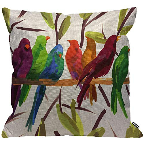 HGOD DESIGNS Cushion Cover Parrot Parakeet Watercolor Bird Flock Together Rest On The Tree Throw Pillow Cover Home Decorative for Men/Women/Boys/Girls Living Room Bedroom Sofa 18X18 Inch Pillowcase