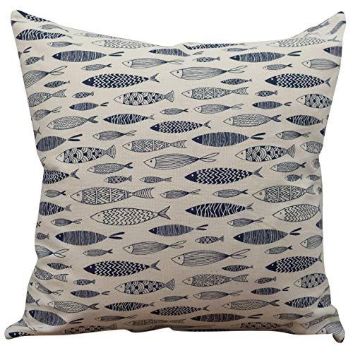 Linen Loft Vintage Style Printed Fish Cushion Cover. Nautical Blue and Beige. 17x17 Square Pillowcase. Seaside Theme Sardine Design.