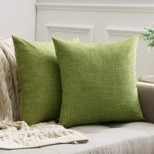 MIULEE Cross Shape Faux Linen Square Throw Pillow Case Cushion Cover Home for Sofa Chair Couch/Bedroom Decorative Pillowcase 50x50cm Set of 2 Green