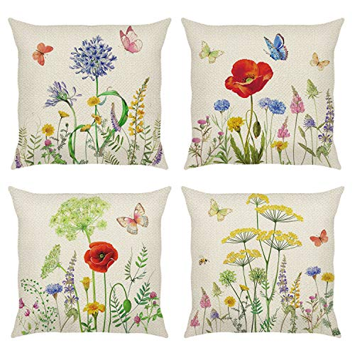 Bonhause Garden Flower Cushion Covers 18 x 18 Inch Set of 4 Spring Floral Butterfly Decorative Throw Pillow Covers Polyester Linen Pillowcases for Sofa Couch Bedroom Indoor Outdoor Decor, 45cm x 45cm