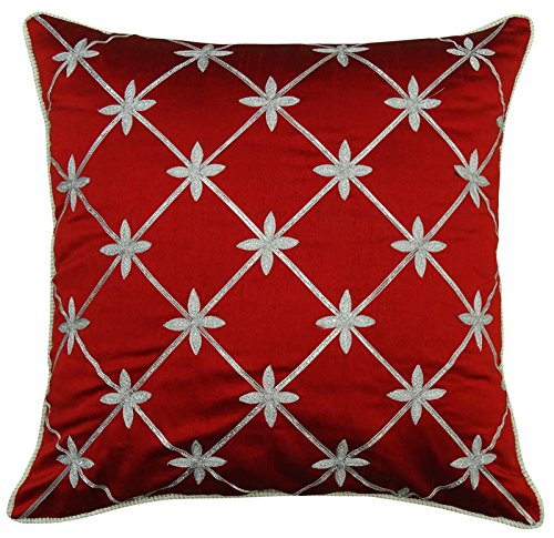 S4Sassy Red Floral Embroidered Cushion Cover Polyester Dupion Square Decorative Pillow Case-14 x 14 Inches