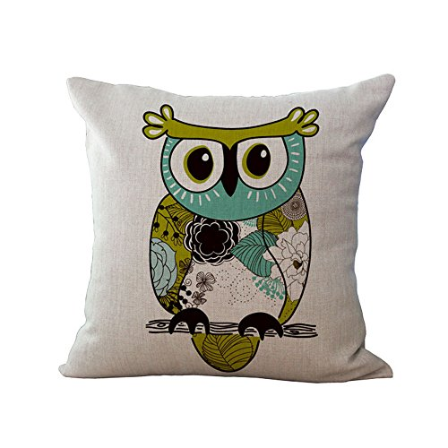 Hengjiang WEIANG Cartoon Owl Pillow Cover Cotton Sofa Decor Throw Pillowcase Sham Decor Cushion Cover (#03)