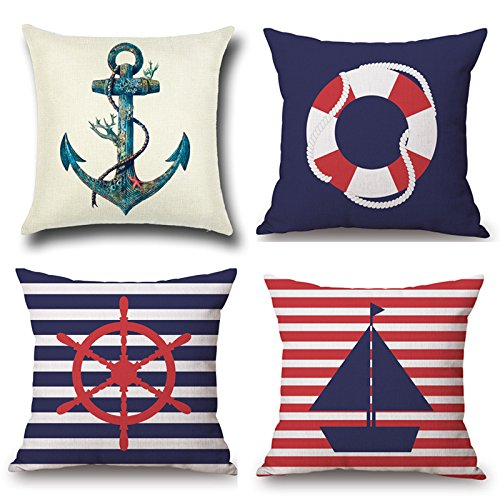 1758studio Navy Blue Nautical Throw Pillow Cover 4 Pack 18x18 Inch Cotton Linen Square Cushion Covers with Zipper Home Decor Set of 4 Throw Pillowcase for Sofa Bedroom Car,45x45cm(Nautical)