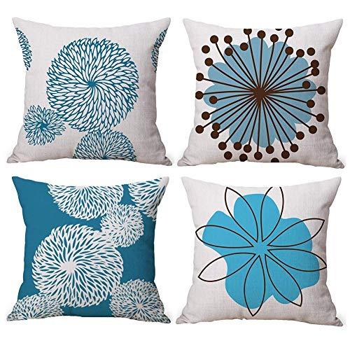 Freeas 4 Pack Simple Flower Style Cotton Linen Decorative Cushion Pillowcase Case for Pillow 45x45cm
