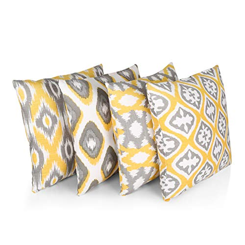 """Penguin Home® 100% Cotton Decorative Double Sided Square Cushion Covers with Invisible Zipper 45cm x 45cm x 18"""" (Set of 4, Yellow/Grey Pattern), 45 X45 X1 cm"""
