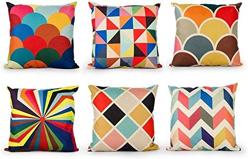 TIDWIACE Set of 6 Color Cushion Cover Outdoor Furniture Decorative Linen - Throw Pillow case for Home Office Sofa Bedroom Car Garden, Double-sided printing Invisible Zipper 45x45cm/18x18 Inch