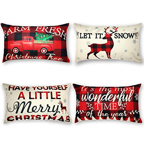 4 Pack Christmas Throw Pillow Case Have Yourself A Little Merry Christmas Pillow Case with Red Black Buffalo Plaids Snowflake Deer Truck Winter Holiday Home Decorative Cushion Cover, 12 x 20 Inch