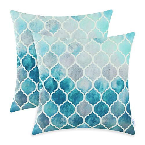 CaliTime Cushion Covers 2 Pack 55cm x 55cm Main Grey Teal Manual Hand Painted Colorful Geometric Trellis Chain Print Throw Pillow Cases