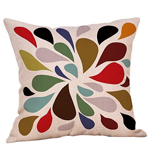 MMLsure® square print decorative cushion, geometric autumn cushion cover, simple decorative sofa cushion cover with concealed cord, zip, 45 x 45 cm, multicoloured, H