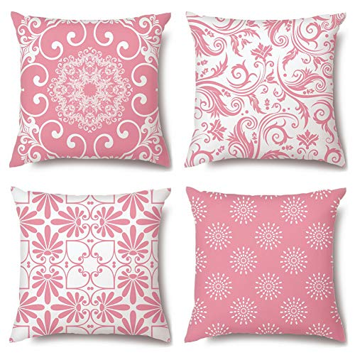 Artscope Cushion Covers, 45 x 45 cm Square High Grade Polyester Microfiber Decorative Pillowcases, Throw Pillow Covers for Sofa Car Bedroom, Set of 4 (Pink B)
