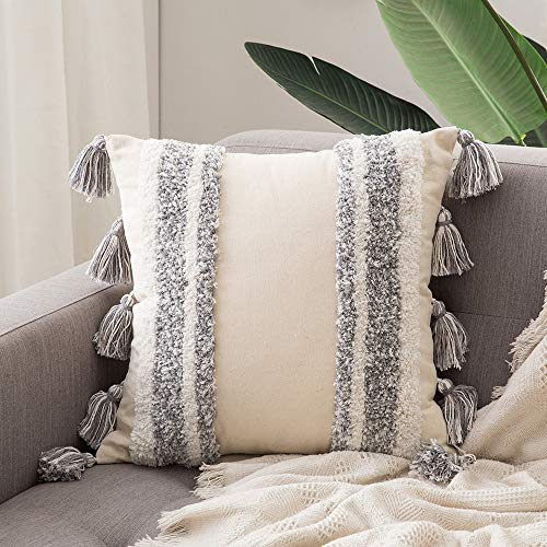 MIULEE Tasseled Cushion Covers Bohemian Indian Embroidered Decorative Square Throw Pillow Case Pillowcases for Couch Livingroom Sofa Bed with Invisible Zipper 24x24 inch 60x60cm
