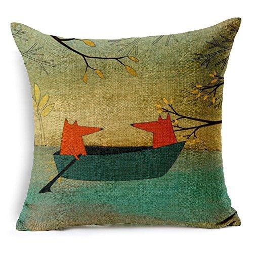 Nunubee Cotton Linen Square Home Decor Cushion Cover Cartoon Fox Pillow Case Pattern B