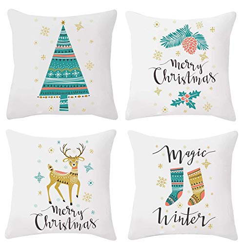 Freeas Set of 4 Christmas Pillow Cover Cotton Linen Decorative Pillowcases Christmas Snowflake Sofa Cushion Cover for Home Christmas Favor, 18 by 18 Inches (Color Set 4)