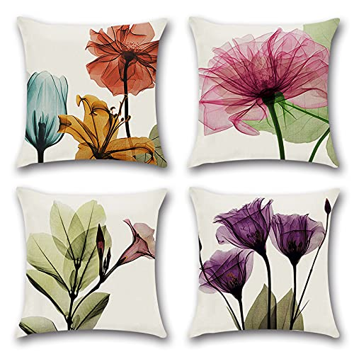 Cushion Covers 45 x 45 cm,Set of 4 pillow cover Cotton and Linen Pillow case Cushion Covers for Sofa outdoor garden bed couch cushions(21-TrumpetPollen)