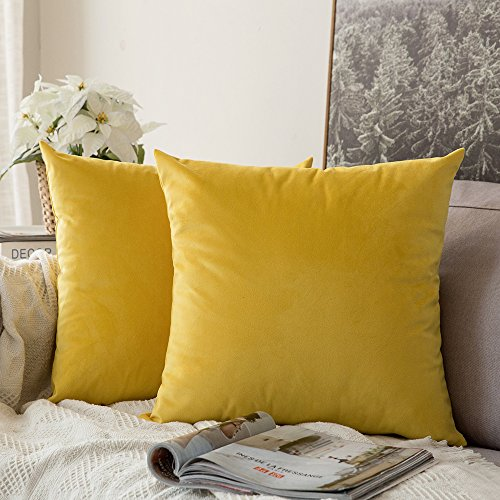 Miulee Decorative Velvet Cushion Covers 45cm x 45cm/Square Throw Pillowcases for Sofa Bedroom with Invisible Zipper 18x18 Inch Lemon Yellow Sets of Two