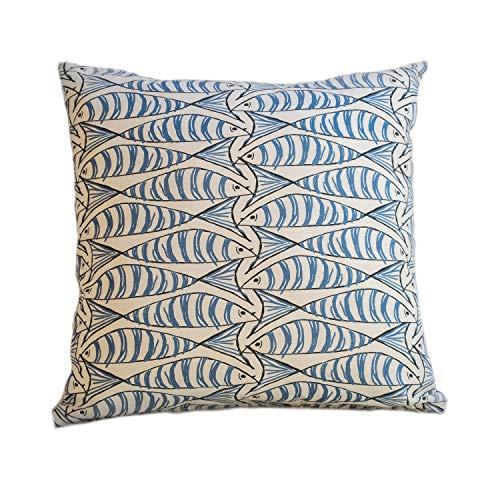Seaside Fish Nautical Double Sided Cushion Cover. Sardine Design. Navy indigo blue fish against a white background. 17' x 17' Square.