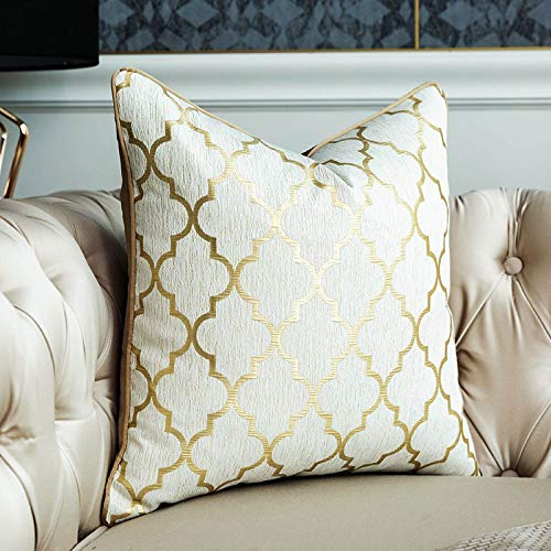 Gold Cushion Cover Decorative Square Unique Gold Pillow Cases Home Decor for Sofa Outdoor Bedroom living room Terrace Chair With Invisible Zipper 45 x 45 cm 18 x 18 Inch (cream)