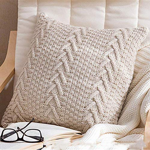 BESTEU V-shaped Artificial Cashmere Chunky Knit Cushion Cover Soft Cable Knitted Pillowcases Square Throw Pillow Covers Home Decorative without Pillow Core