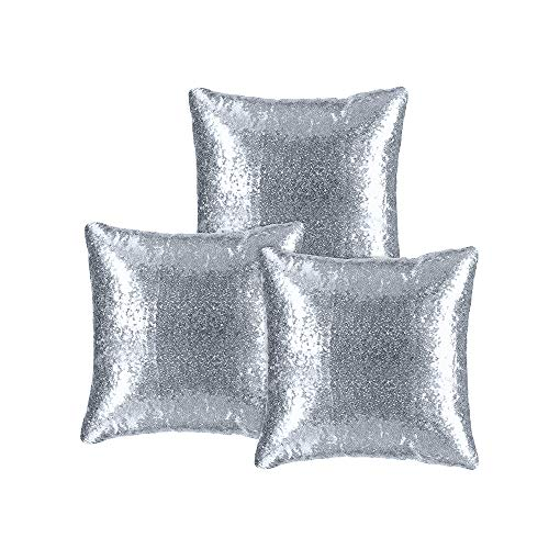 Kivvo Sequin Pillow Covers Set of 3, Sparkling Pillowcase Cushion Cover for Party Decoration, Square 18inch(45cm) (Silver)