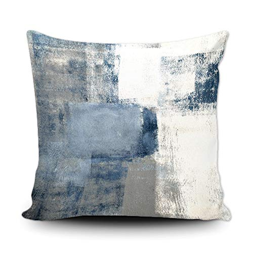 BAGEYOU Throw Pillow Covers Gray Contemporary Blue and Grey Abstract Painting Interior Modern Squares Cushion Case 18 x 18 Inch Pillowcases for Sofa Couch Bedroom