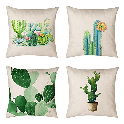 Cushion Covers 70x70cm/28x28in Plant Cactus Set of 4 - Cotton Linen Throw Pillow Case Soft Sofa Bed Chair Cushion Covers Square Pillowcase,for Livingroom Office Car Bedroom Decorative L559
