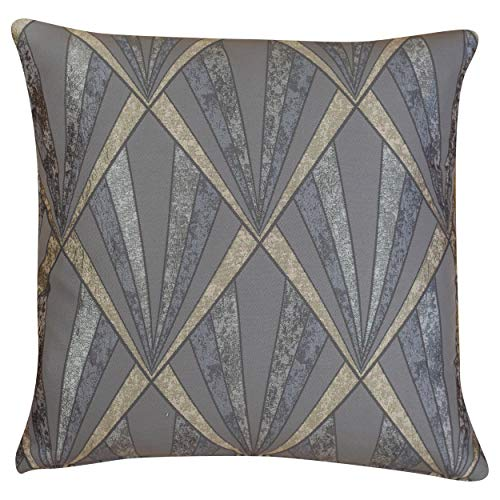 Linen Loft Extra Large Metallic Art Deco Streamline Geometric Cushion Cover. Vintage Charcoal Grey and Silver. 23' (58cm) Square. Double Sided.