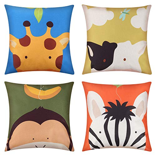 ADAKEL 4 Pack Animal Cushion Covers Childrens Cushions Cartoon Throw Pillow Covers Kids Pillow Case Cover for Bedroom Home Decor,18 x 18 Inch