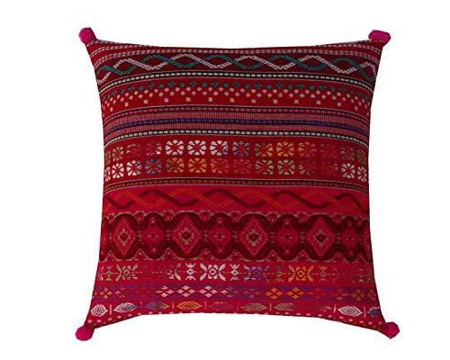 Handicraftsuk Indian Handmade Home Decor Exclusive Floor Pillow Bohemian Cushion Cover 16'x16' 40cmx40cm (Hot pink)