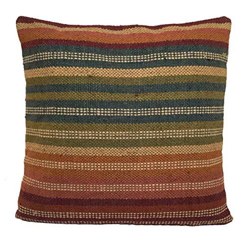 Rainbow Kilim Cushion Covers 60cm x 60cm Wool Cotton Jute Indian Persian Moroccan