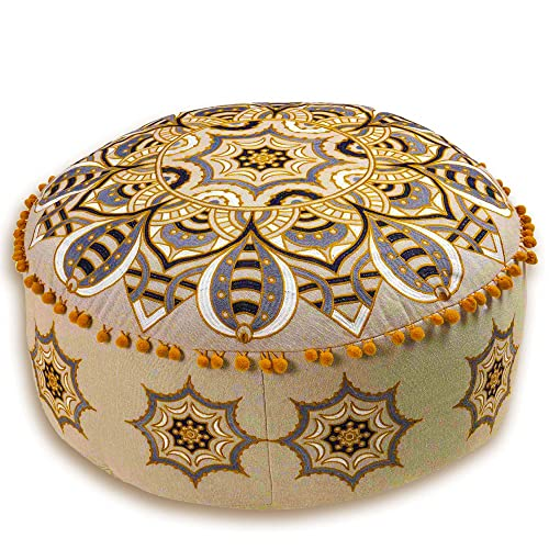Mandala Life ART Bohemian Floor Pillow Cover -60x20 cm - Luxury, Artisan Room Décor Pouffe for Meditation, Yoga, and Boho Chic Seating Area Stool– Accent Your Living Room, Bedroom
