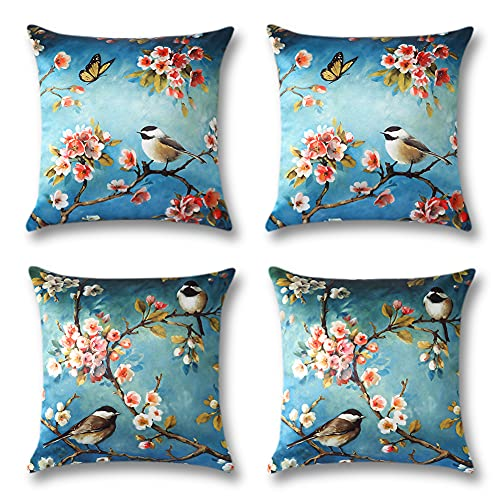 Artscope Cozy Satin Silk Cushion Covers Cases, Set of 4 Classical Birds Butterfly Flowers Pattern Throw Pillow Covers for Sofa Couch Home Decor 45x45cm