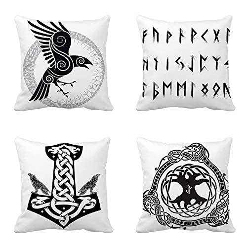 rouihot set of 4 Cushion Covers Dance African Ethnic Tribal Black Mask Ethnic Sketch Abstract Africa Voodoo Symbol 50x50cm/20x20 Inch Home Decor Throw Pillow Covers Square Pillowcases for Bed Sofa