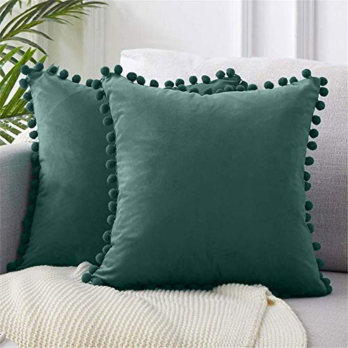 2 Packs Velvet Pompom Cushion Covers 18x18 Inches Soft Square Decorative Throw Pillowcases for Home Decor Sofa Couch Bed (Dark Green)