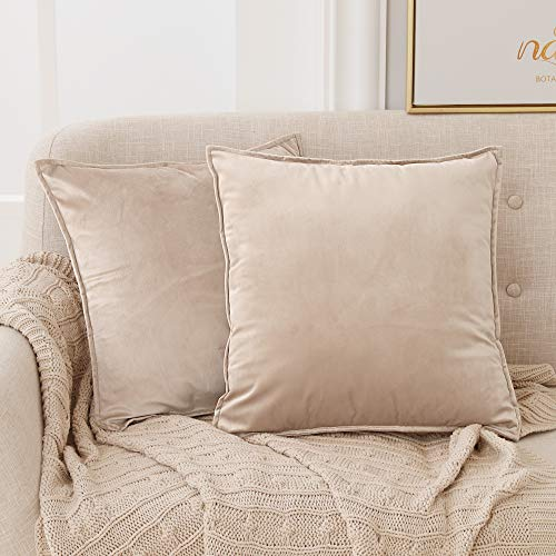 Deconovo Set of 2 Home Derorative Crushed Velvet Cushion Covers 45cm x 45cm 18x18 Inches Flanges Throw Pillow Covers Cushion Covers for Sofas Seats with Invisible Zipper Khaki