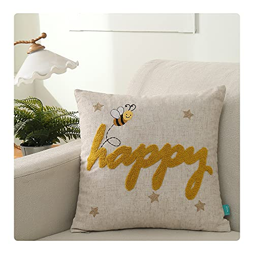 UKHP Embroidery Cushion Covers Decorative Sqaure Linen Throw Pillow Covers for Couch, Sofa, Chair, Living Room 45x45 cm, 18x18 inch Bee Happy0