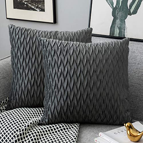 Yamonic Pack of 2 Cushion Cover Super Soft Velvet Pillow Covers Square Decorative Pillowcase for Sofa Bed Couch Bench, 16 x 16 inch, Grey
