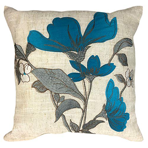 43 x 43 cm (16 x 16 inch) Cushion Cover Floral Embroidered and Applique Design Choice of 5 Colour Ways. Red, Black, Ochre, Teal and Green with Silver Leaf Detail on Natural Ground (Teal (34004))