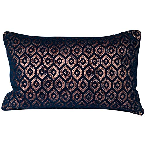 Linen Loft Diamant Metallic Chenille XL Rectangular Cushion Cover. Made from Genuine Lurex and Cotton Blend. Indigo and Metallic Copper Ikat Geometric Design. 23x15 Cover Only.