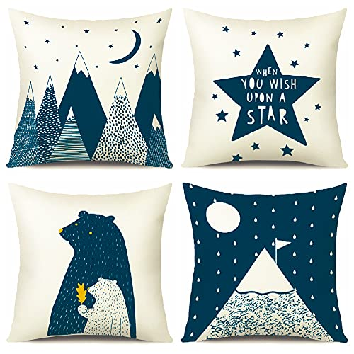 Artscope Cozy Cushion Covers, Pack of 4 Soft Velvet North Pole and Stars Print Pattern Decorative Throw Pillow Covers Cases for Sofa Couch Bedroom Living Room Home Decor 45x45CM - Blue