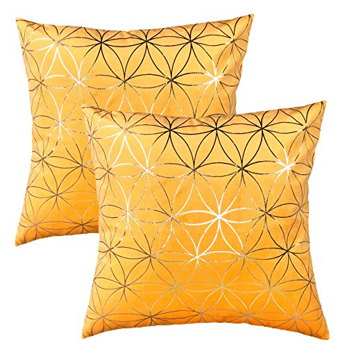 LILYAN Yellow (Bright Mustard) Velvet Cushion Covers, Pack of 2 Art Deco Cushion Covers with Gold Pattern & Concealed Zip, 45 x 45cm (Yellow)