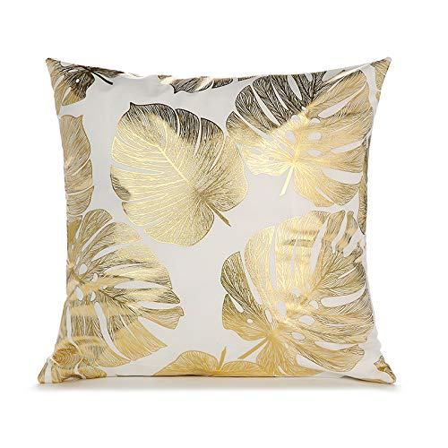 DJC Luxury Geometric Black Velvet and Gold Metallic Foil - PAIR of Cushion Covers 45cm x 45cm (While Palm Three)