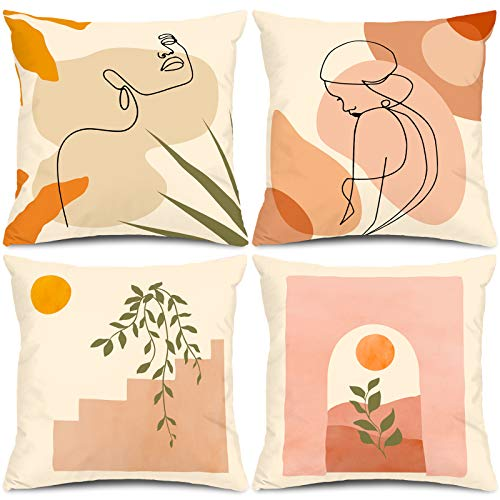 Whaline Abstract Line Pillow Case Minimalist Art Pillow Cover 18 x 18 Inch Women Face Throw Cushion Cover Double-Sided Design Decorative Pastel Suede Cushion Case for Home Office Car Sofa, 4 Pack