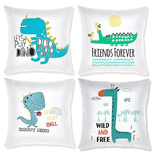 COFEDE Set of 4 Cartoon Throw Pillow Covers Cute Dinosaur Cushion Covers Kids Pillowcase Baby Room Decor 18x18 Inches